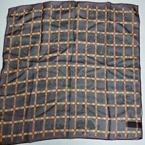Brown and Gold Checkered Scarf 20""